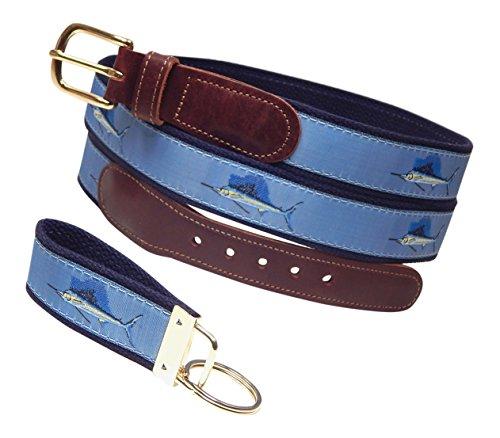Preston Leather Sailfish Belt, Blue, Sizes 30 to 50, FREE Matching Key Ring (Size 46) ()