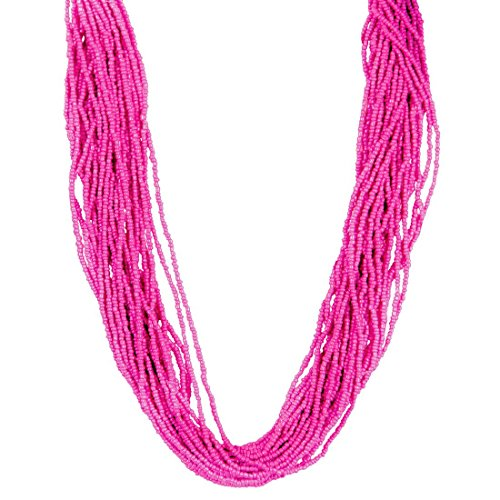 [Women's La Soleil Fashion Trendy Glass Beaded Strand Necklace, IJJWLS 24