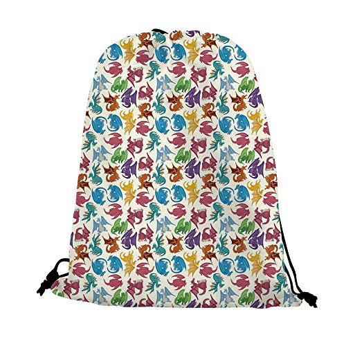 Dragon Decor Nice Drawstring Bag,Cartoon Style Design Decoration for Children Pattern Colorful Dragons Print For traveling,17.7
