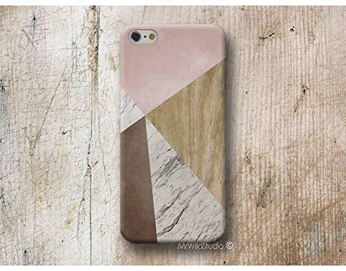 Funda Madera Mármol Geométrica Rosa para iPhone 4 5 5s SE 6 6s 7 Plus Samsung Galaxy s8 s7 s6 s5 A5 A3 J5 Huawei LG Moto Oneplus Sony HTC ....