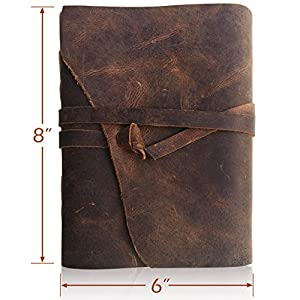 LEATHER JOURNAL Handmade Writing Notebook - Antique Leather-Bound A5 Daily Note Pads For Men & Women Unlined Paper Large 8 x 6 Inches, Best Gift for Art Sketchbook, Travel Diary & Journals to Write in