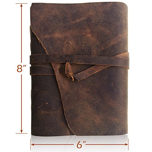 LEATHER JOURNAL Writing Notebook – Antique Handmade Leather-Bound A5 Daily Note Pads For Men  Women Unlined Paper Large 8 x 6 Inches, Best Gift for A…