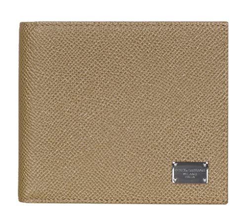 Dolce & Gabbana Light Brown Pebbled Leather Logo Plaque Bi Fold ()