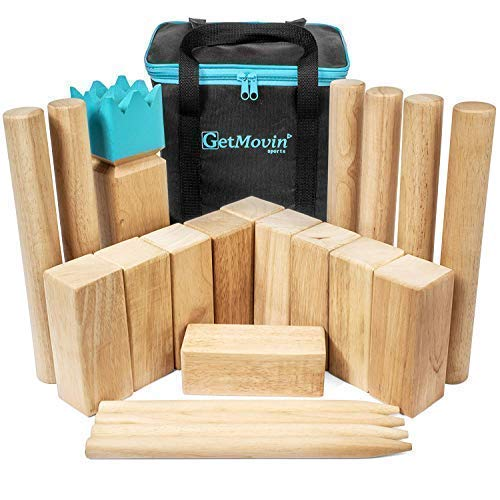 Rubberwood Board - GetMovin' Sports Kubb Viking Chess Fun Outdoor Yard Game Premium Rubberwood Set, Giant Board Game for The Beach, Lawn, or Party