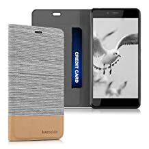 kwmobile Flip Cover Case for OnePlus X - Protection case Cover Bookstyle made of synthetic leather and fabric in light grey brown