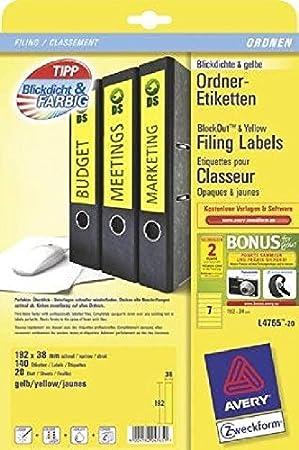 Etiquetas de carpetas para archivador estrecho (corta,, Amarillo, 192 x 38 mm, 140 etiquetas Color Amarillo contenido 140 unidades): Amazon.es: Oficina y ...
