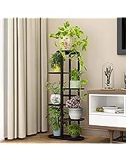 Multi-Tiered Plant Stand Flower Holder - Metal 6 Tier 7 Pot Multiple Layer Planter Multi Tiered Shelf Display Rack Storge Organizer for Balcony Garden Indoor Outdoor Corner (Black)