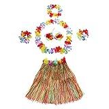 "Anself 6Pcs 24"" New Hawaii Hula Skirt Set Women Grass Skirts Handmade Hawaiian Costumes Dance Kit"