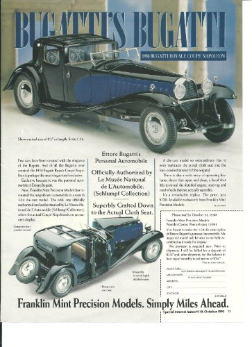 Mint Coupe Franklin (1930 BUGATTI ROYALE TYPE 41 COUPE NAPOLEON in FRANKLIN MINT COLOR AD - USA - EXCELLENT !!)