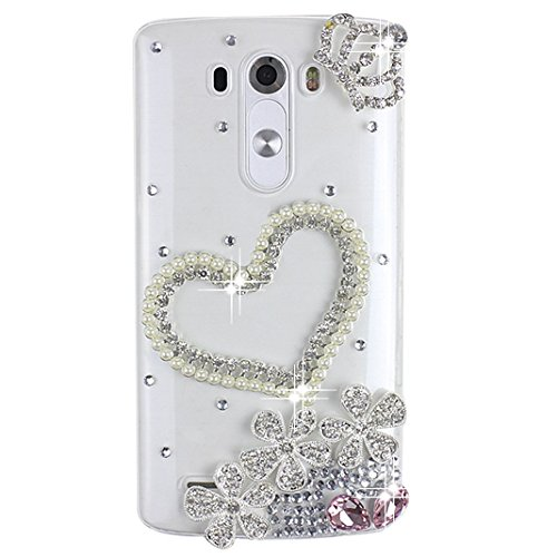 LG G Vista 2 Bling Case - Fairy Art Luxury 3D Sparkle Series Crown Heart Flowers Crystal Design Back Cover with Soft Wallet Purse Red Cloth Pouch - - Cheap Sunglasses Mp3