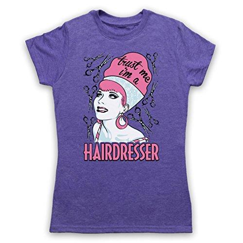 Trust Me I'm A Hair Dresser Funny Work Slogan Camiseta para Mujer Morado Clásico