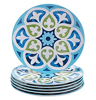 "Certified International Corp Barcelona Salad/Dessert Plates, 9"", Multicolored, Set of 6"