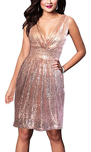 (Women's Dresses Sequins V Neck Ruched Pleated Bodice Bridesmaid Midi Gown Rose Gold XL)