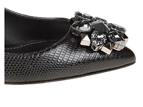Dolce & Gabbana Chaussures àTalon en Cuir Noir avec Cristaux - Code Modèle: CD0066 AB845 80999 Noir k71kUOXS