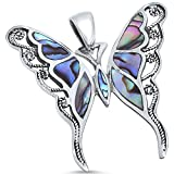 Solid Sterling Silver Abalone Shell Inlay Buttterfly .925 Sterling Silver Statement Pendant