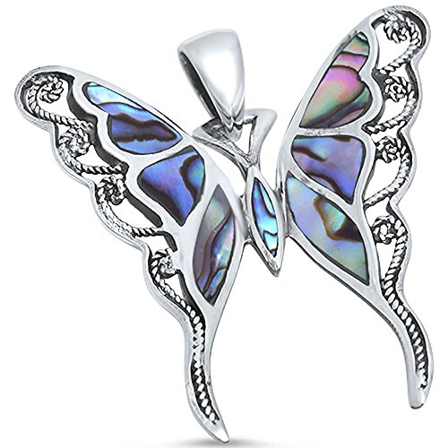 - Solid Sterling Silver Abalone Shell, Onyx or Turquoise Inlay Buttterfly .925 Sterling Silver Statement Pendant (Abalone Shell)