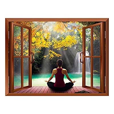 Amazing Artistry, Copper Window Looking Out Into a Woman Meditating by a Lake with a Waterfall Wall Mural, That You Will Love
