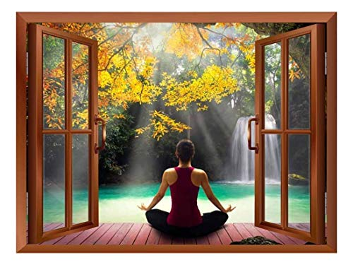 Copper Window Looking Out Into a Woman Meditating by a Lake with a Waterfall Wall Mural