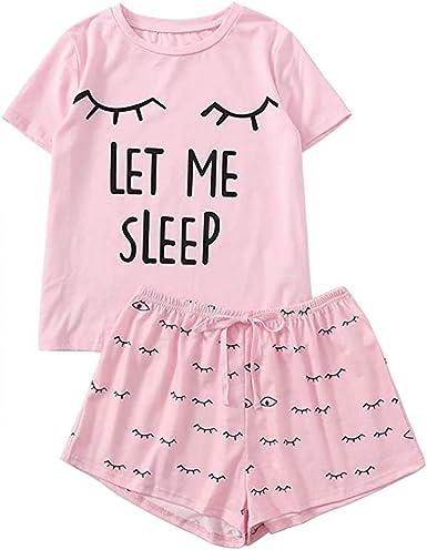 Baywell Pijamas para Mujer Déjame Dormir Letra Impresa ...
