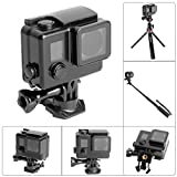 Fantaseal® 8-in-1 Direct-mount Must-have Gopro Waterproof Housing Kit w/ 2-in-1 Buckle Clip + Screw + Lens Cap + Lens + Wrench + Lens Cloth + Safety Rubber for Gopro Hero3 / Hero3+ / Hero 4-BLACK(3M waterproof, not for deep diving)-Black