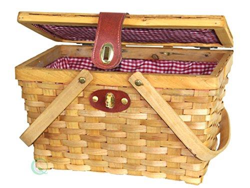 Vintiquewise(TM) Large Gingham Lined Picnic Basket