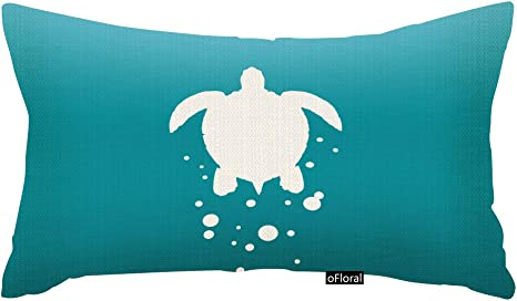 Amazon Com Ofloral Sea Turtle Amp Bubbles Against Blue Green Ocean Throw Pillows Rectangle Throw Pillow Case Cushion Cover Pillowcase Pillow Cover 12x20 Inch Home Kitchen