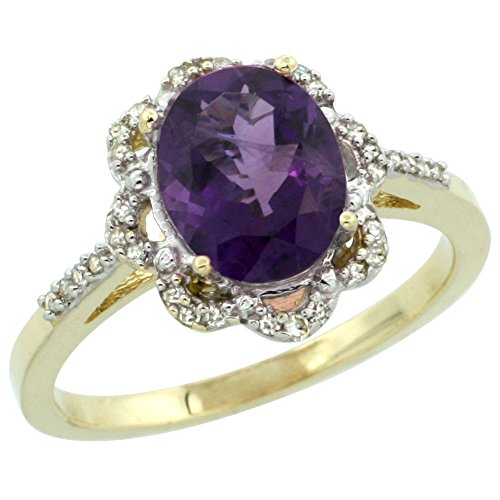 10K Yellow Gold Diamond Halo Genuine Amethyst Engagement Ring Oval 9x7mm size 7.5 -