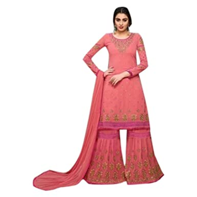 f21c0fc726 Amazon.com: Pink New Designer Gharara Women Wedding Dress Sharara salwar  kameez Floor Length Suit Custom to Measure 2786: Clothing