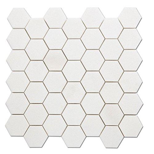 - Diflart Thassos White Greek Marble 2 Inch Hexagon Tile for Kitchen Backsplash Bathroom Pack of 5