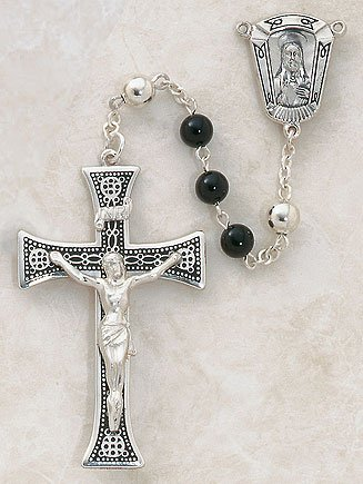 Catholic Sterling Silver Black Onyx Men's Premium Rosary 6mm Black Onyx Prayer Beads a Detailed Sterling Silver Cross Crucifix and Jesus Christ Sacred Heart Centerpiece