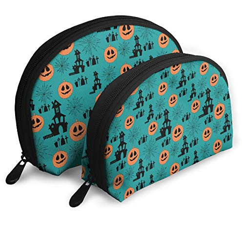 ElephantAN Cute Halloween Pumpkin Spider Pattern Multifunction Shell Portable Bags,Storage Bag,Buggy Bag,Travel Cosmetic Bags,Small Makeup Clutch,Pouch Cosmetic,Toiletries Organizer Bag -