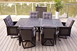 7pc Patio Swivel Rocking Aluminum Furniture Set with Cushions For Sale