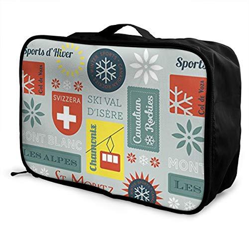 (ADGAI Snow Retro Ski Badges Canvas Travel Weekender Bag,Fashion Custom Lightweight Large Capacity Portable Luggage Bag,Suitcase Trolley Bag)