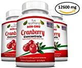 Triple Strength Cranberry Concentrate Supplement Pills for Urinary Tract Infection UTI. Equals 12600mg Cranberries. Kidney Bladder Health for Men & Women. Easy to Swallow Softgels, Non-GMO, 3 Bottles