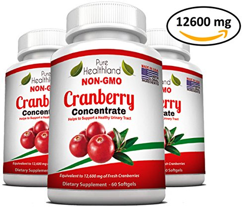 Triple Strength Cranberry Concentrate Supplement Pills for Urinary Tract Infection UTI. Equals 12600mg Cranberries. Kidney Bladder Health for Men & Women. Easy to Swallow Softgels, Non-GMO, 3 Bottles by Pure Healthland