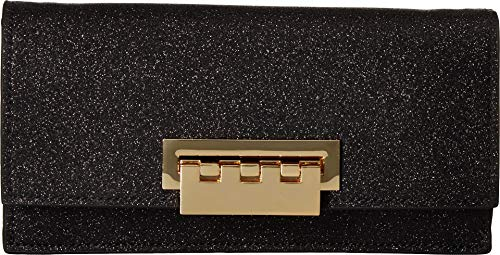 (ZAC Zac Posen Earthette Flat Clutch Crossbody Black Glitter,)