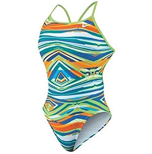 Nike Rio Geo Modern Lingerie Tank Swimsuit 12/38 Action Green