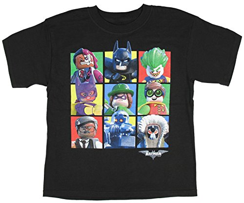 Price comparison product image Boys DC Comics Lego Batman Movie Character Blocks Black Graphic T-Shirt - Large