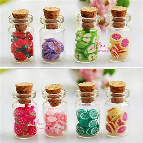 Wholesale 4pcs/Set 1:12 Dollhouse Miniature accessories DIY Various Fruit Bottles Canned Send By Random