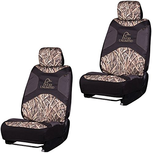 Ducks Unlimited Max-4 Brand Camo Logo Infinity Camouflage Version 2.0 Auto Car Truck SUV Vehicle Universal-Fit Safe Seam Seat Airbag Compatible Low Back Bucket Seat Cover with Head Rest Cover - PAIR (Ducks Unlimited Camouflage Camo)