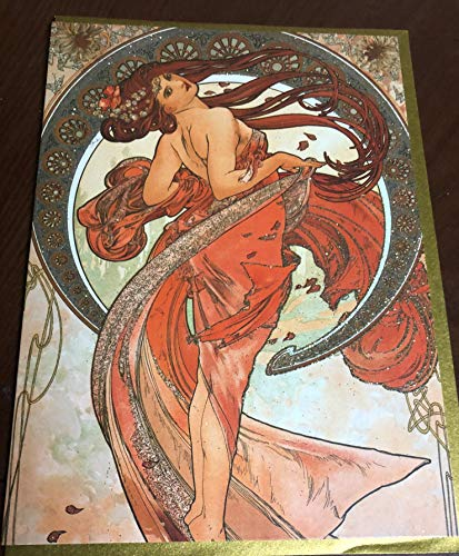 Mucha Hand Finished Card-Elegant Design-BUT ONE GET ONE Free-Also Available ALPHONE Mucha - Free Calendars Print