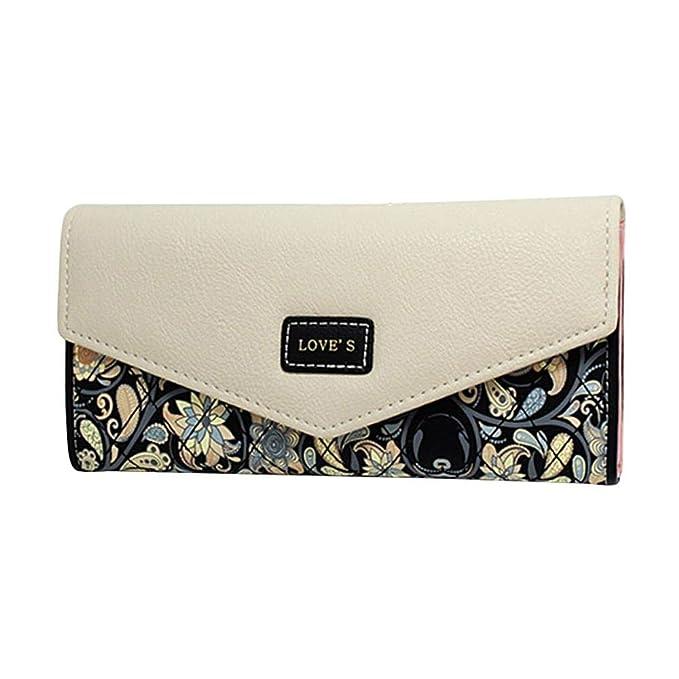 ac7b5af8a082 WeoHau Luxury Fashion Flower Envelope Ladies Long Pu Wallet Purse ...