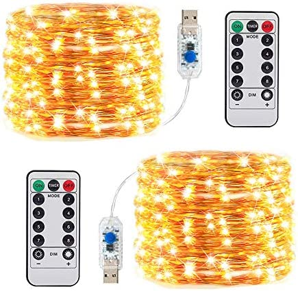 2 Pack Fairy Lights with Remote Control Timer, 8 Modes 49ft 150 LED USB Plug in Firefly Twinkle Lights, Waterproof LED Mini Decorative Copper Wire Lights for Wedding Party Festival ect. Warm White