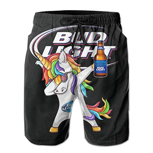Men's Unicorn Dabbing with Bud Light Beer Summer Short Quick Dry Lace Beach Board Shorts Mesh Beachwear White