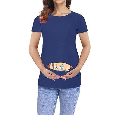 Battnot Damen Umstandsmode Blusen Sommer Kurzarm Schwangerschaft Bequeme Karikatur Baby Reißverschluss öffnen Druck Oberteil Mutterschafts