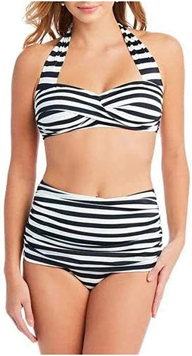 35eddbbad5 Catalina Women's Suddenly Slim High Waist Bikini Two-Piece Swimsuit Set,  Retro XL