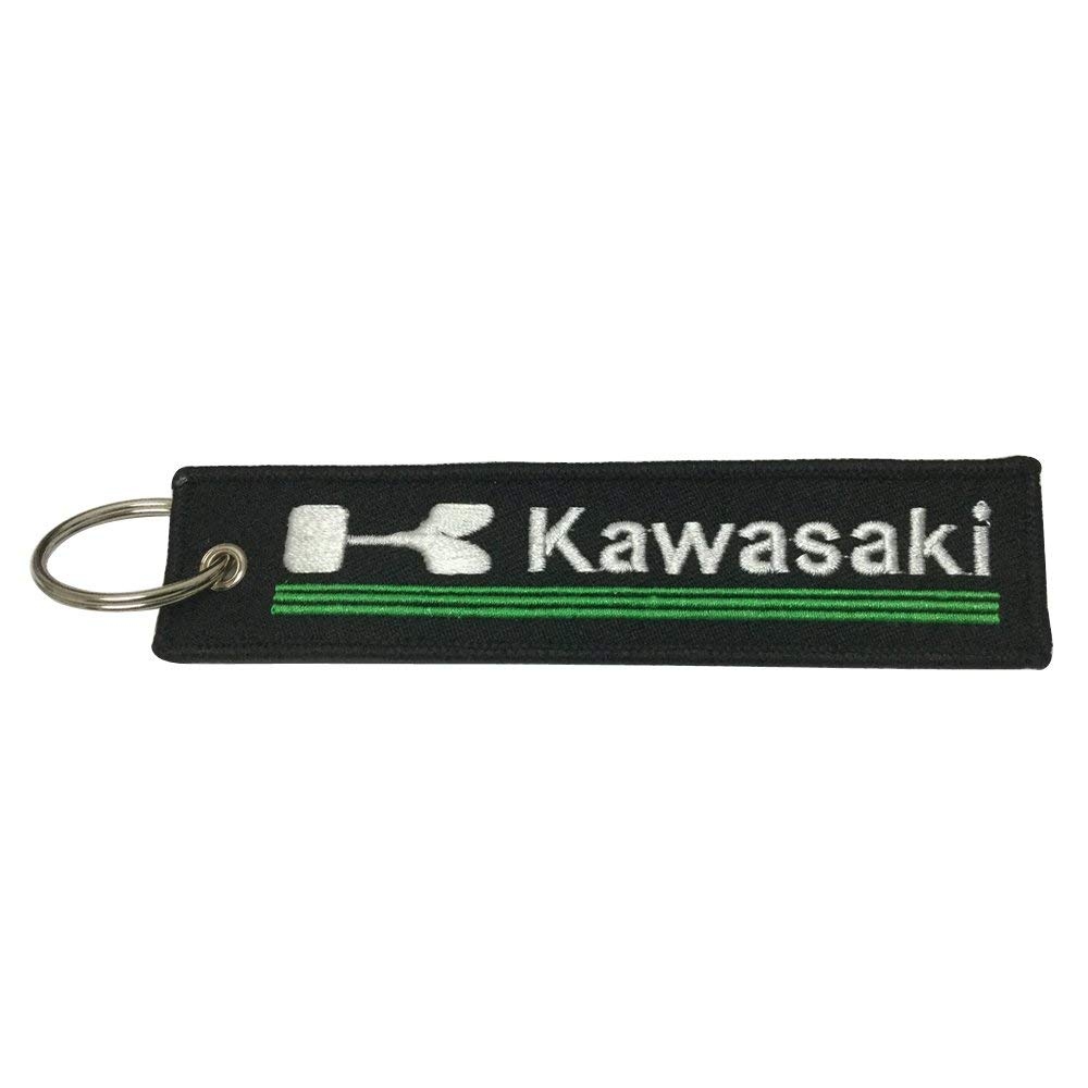 Kawasaki Big K Black Embroidered Tag Key chain for Motorcycle Scooters Racing Biker Key Ring Accessory
