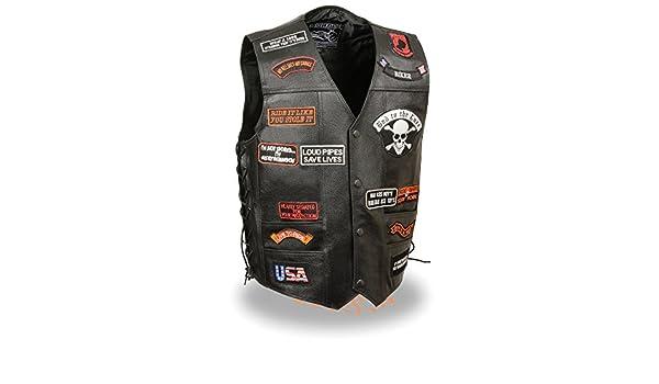 Event Leather-Mens Side Lace Vest Pre-Patched Vest 23 Total Patches-BLACK-MD Shaf International Inc ZLM3920-BLACK-MD