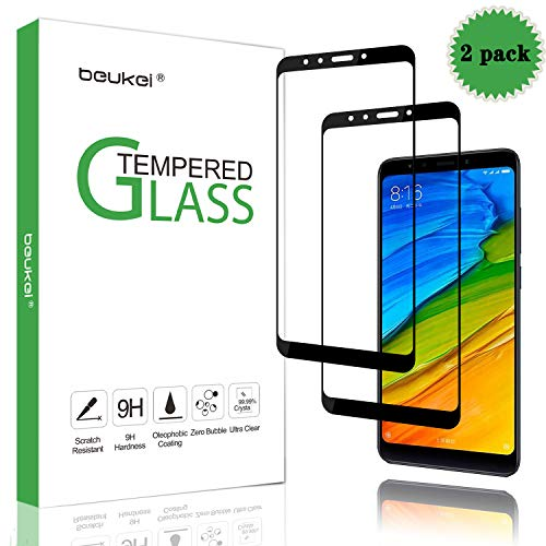 (2 Pack) Beukei for Xiaomi Redmi 5 Plus Screen Protector Tempered Glass, Glass with 9H Hardness, with Lifetime Replacement Warranty, for Redmi 5 Plus
