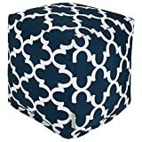 Majestic Home Goods Navy Trellis Indoor/Outdoor Bean Bag Ottoman Pouf Cube 17'' L x 17'' W x 17'' H